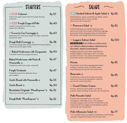 menu piza express